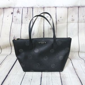 Kate Spade glitter polka dot zip tote in black
